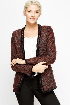 Studded Frayed Trim Speckled Jacket