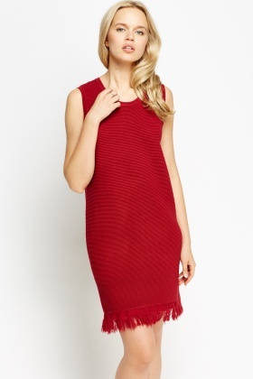 Ribbed Fringed Hem Midi Dress