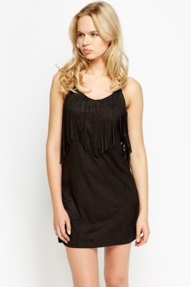 Suedette Fringed Slip Dress