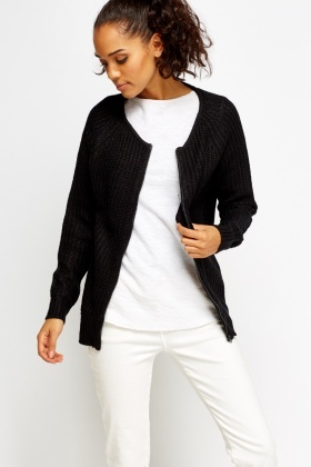 Black Zipped Loose Knit Sweater