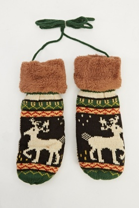Metallic Multi Colour Reindeer Mit Gloves