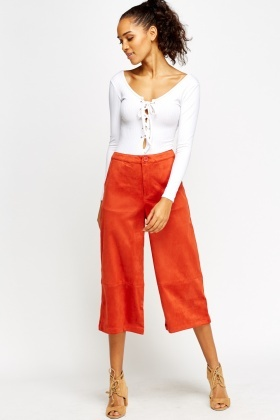 Suedette Cropped Wide Leg Trousers