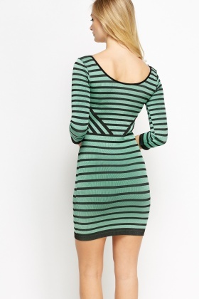 Colour Block Striped Bodycon Dress