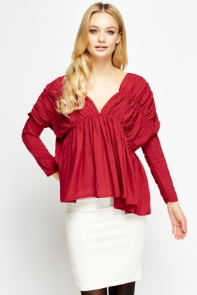 Crinkled Deep Plunge Top