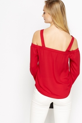 Dark Red Cami Cold Shoulder Top