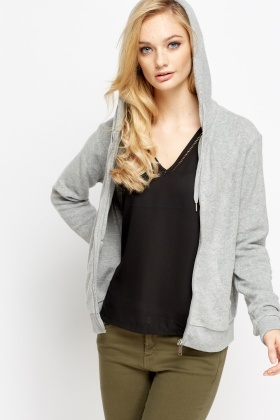 Grey Fleece Zipped Hoodie