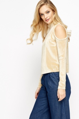 Velveteen High Neck Cold Shoulder Top