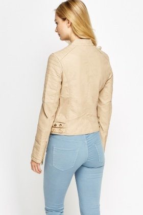 Zipped Faux Leather Jacket