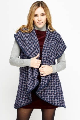 Houndstooth Wrapped Poncho