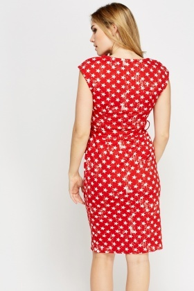 Red Star Printed Tied Dress
