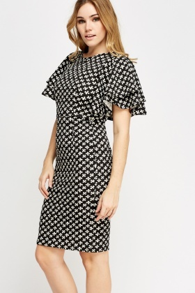 Textured Print Flare Sleeve Dress