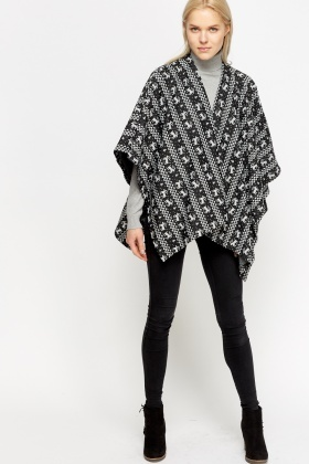 Black Raindeer Printed Wrap Poncho