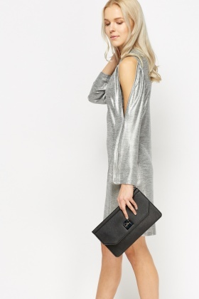 Cold Shoulder Metallic Shift Dress