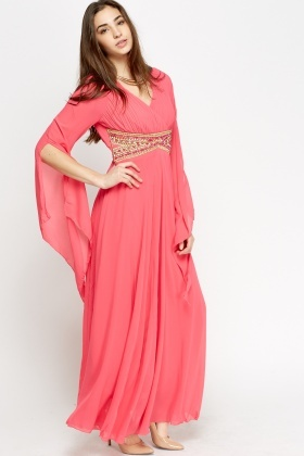 Embellished Waist Wrap Maxi Dress