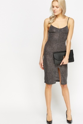 Metallic Glitter Cami Slip On Dress