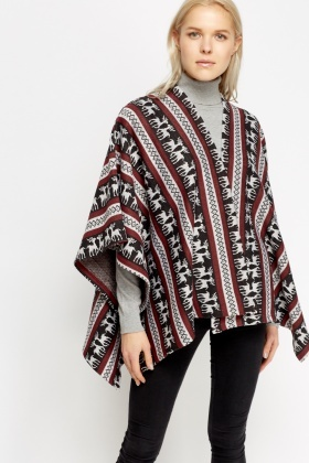 Reindeer Printed Wrapped Poncho