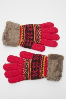 Fluffy Trim Knitted Geo Print Gloves