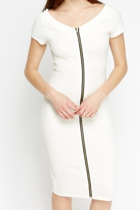 Zip Front White Midi Pencil Dress