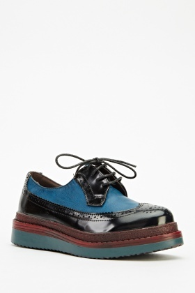 Contrast Layer Brogue Shoes