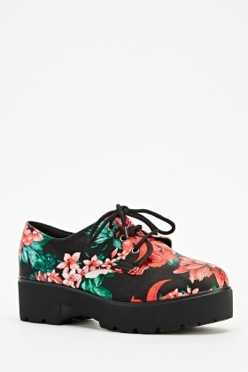 Flower Printed Platform Shoes