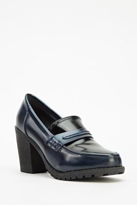 High Block Heel Loafers