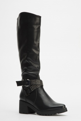 Studded Buckle Knee High Boots - Just £5