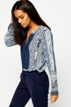 Button Front Mix Print Top