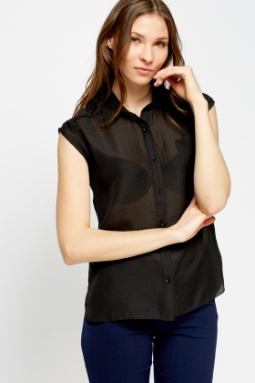 Button Front Sheer Black Shirt
