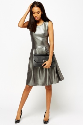 6032edb29658 Metallic Silver Skater Dress - Just £5