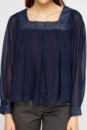 Sheer Contrast Navy Flare Blouse