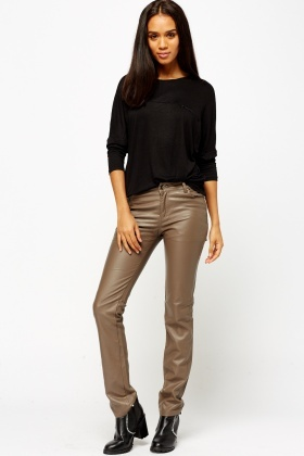 Straight Leg Faux Leather Trousers