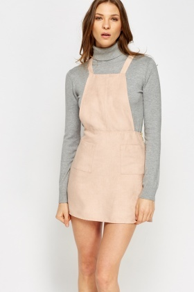 Suedette Dungaree Dress
