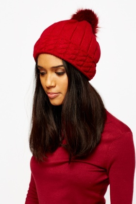 Pom Knitted Beanie Hat