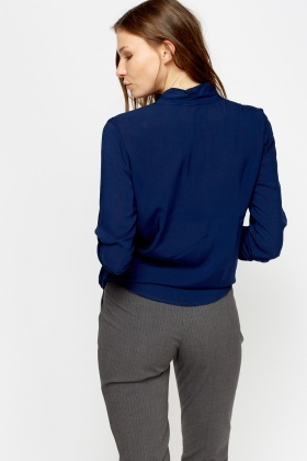 Wrap Dark Blue Blouse