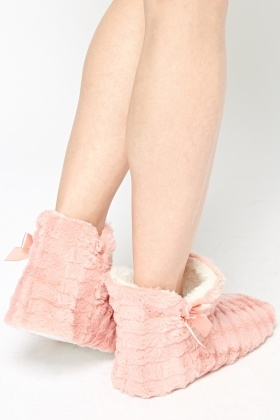 Bow Side Detail Bootie Slipper