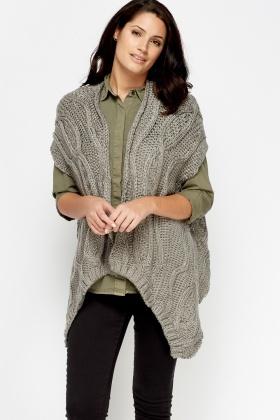 Sleeveless Cardigan Knitting Pattern : Loose Knit Sleeveless Asymmetric Cardigan - Black or Grey - Just ?2
