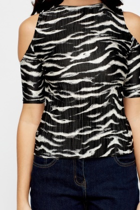 Pleated Zebra Print Top