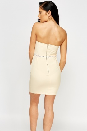 Apricot Mesh Trim Bandeau Dress