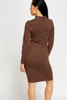 Brown Striped Choker Dress