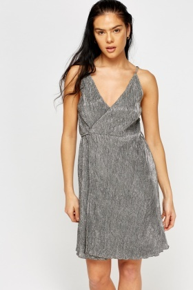 Metallic Pleated Wrap Dress