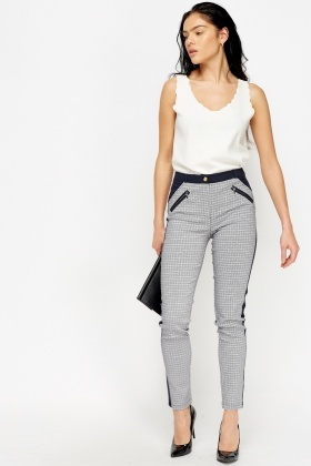 Navy Printed Formal Trousers