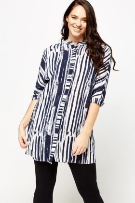 Navy Striped Button Tunic