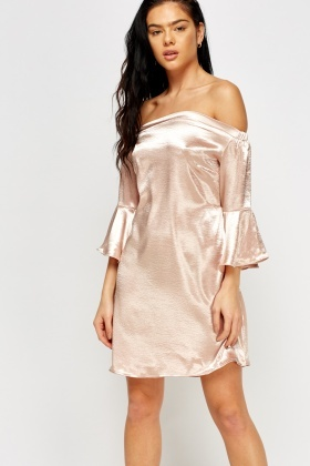 Silky Off Shoulder Mini Dress