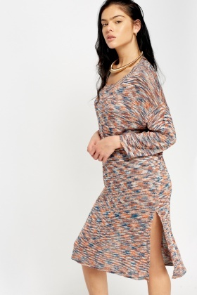 Speckled Knit Long Jumper Dress