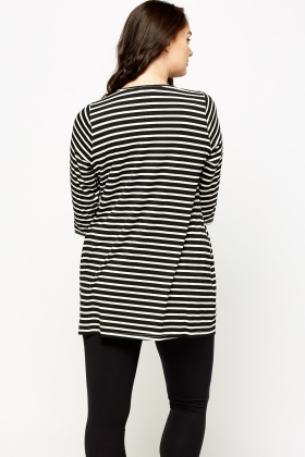 Striped Black Casual Top