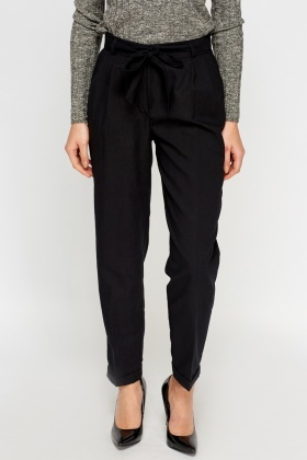 Tied Waist Straight Fit Trousers