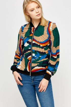 Geo Print Light Bomber Jacket