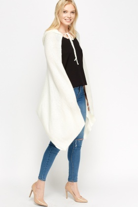 Hooded Knitted Asymmetric Cape