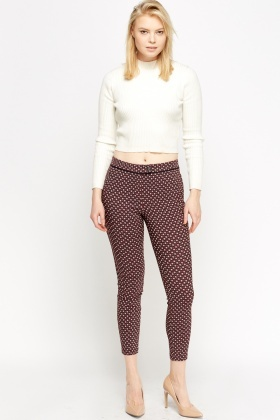 Maroon Printed Cigarette Trousers