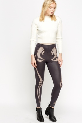 Skelton Faux Leather Leggings